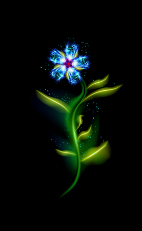 Modern blue flower glowing. Colorful cosmic floral element over black background. Beautiful trendy illuminated ornaments with decorative luxury glow for your design. vector illustration. esp 10 向量圖像