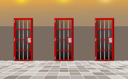 Background prison, trend european interior. Jail cells modern with red doors. Behind bars In jail, dark. Vector detailed illustration for your design and happy deprivation of freedom. eps 10 Illustration