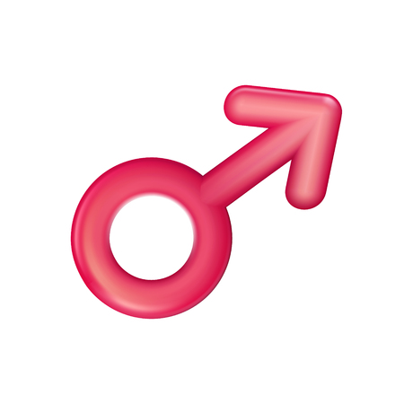 Gender male sign red icon, plastic realistic illustration. Men symbol isolated. Toy, sign 3d. Vector affiliation. Happy love sign made in 3d modern style, symbol or design for web or print.