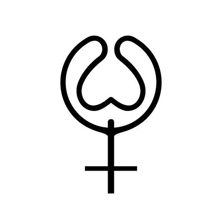 Concetto di ninfomania della linea nera dell'icona. Il genere femminile stilizzato del segno esprime la dipendenza della donna. Un simbolo di appartenenza. Stile piatto per la progettazione grafica, logo. Un amore felice. Illustrazione vettoriale.