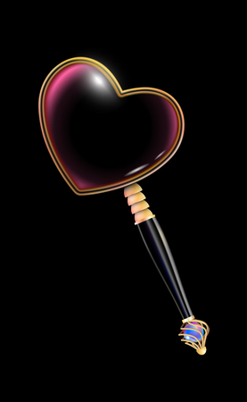 Golden magnifying glass with black handle inlaid with pearls, isolated on a black background. Obligatory Attribute of Valentines day. Retro jewelry design. Vector illustration eps 10