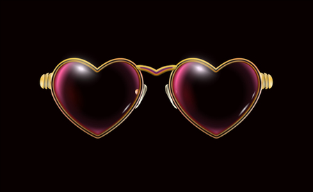Golden glasses with a frame in the shape of a hearts, isolated on a black background. Eyeglasses obligatory Attribute of Valentines day. Retro jewelry design. Heart spectacles pictogram accessory. Gold vector illustration.