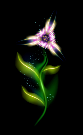 Modern ornamental Pink flower. Beautiful trendy floral element in black background. Colorful glowing illuminated ornaments with decorative luxury glow for your design in vector illustration. eps10