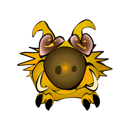 Yellow Cute fluffy wild boar symbol 2019 in Chinese lunar calendar. Warthog character. Illustration sitting pig. Forest inhabitant in cartoon style. China horoscope personage cheerful. Funny vector.