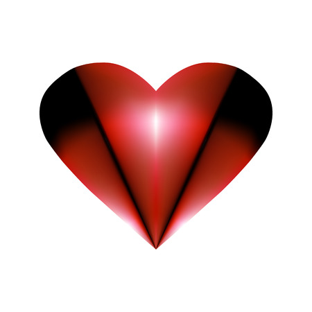 Abstract folded element for Valentines Day design. Pleated Red Heart Icon abstraction Smoldering in night like coal. Vector graphic illustration For graphic and web design, logo. eps 10