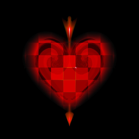 Glowing arrow of Cupid pierced cellular red heart. Icon of Valentines day love. Amur loving on black background. Ardent illuminated with glow design vector illustration. Checkered. Cell a happy cage. Ilustrace