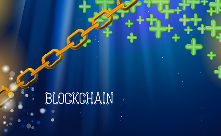 Blockchain technology, green pluses. Data network crypto mining, blue background hyperlink. Chain agreement business concept database cryptocurrency. Vector illustration internet design infographics.