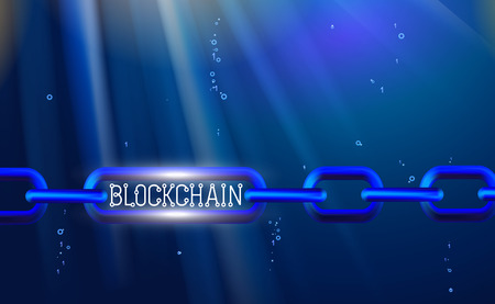 Blockchain technology, chain agreement business concept database cryptocurrency. Data network crypto mining, blue background hyperlink. Vector illustration internet link. Design infographics. eps10