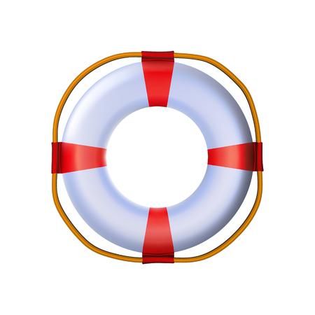 Salvagente nautico 3d lucido bianco rosso a strisce, giocattolo realistico di plastica arrotondato. L'icona moderna spedisce il design dell'attrezzatura. Con corda per sicurezza. Bagnino standard gonfiabile strumento isolato illustrazione vettoriale.