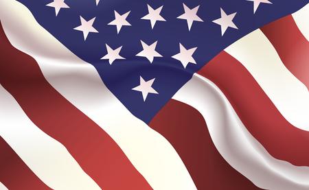 Fondo bandera americana en pliegues. Estandarte estrellado. Banderín con concepto de rayas de estrellas de cerca, estándar de EE. UU. Ilustración de Estados Unidos de América. Sombras suaves realistas, reflejos. Eps10 vector