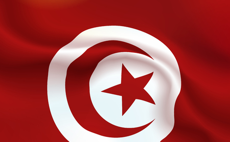 Background Tunisian Flag in folds. Republic Of Tunisia islam banner. Pennant with stripes concept up close, standard Tunis. North of Africa illustration. Realistic soft shadows, highlights. Vector. Ilustração