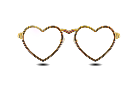 Attribute of Valentines day golden glasses with a rim of hearts, isolated on light background. Eyeglasses obligatory Retro design. Heart spectacles pictogram accessory. Gold vector illustration EPS10.
