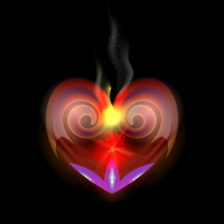 Abstraction heart for dark backgrounds smoldering night fire with red coals. Design elements for Valentines Day. Vector graphic illustration for web, logo. eps10