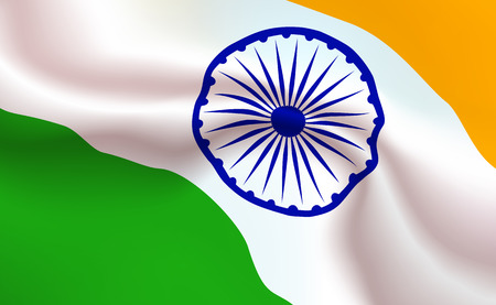 Background Indian Flag in folds. Republic of India banner. Pennant with stripes concept up close, standard state of South Asia illustration. Realistic soft shadows, highlights. Vector eps10.