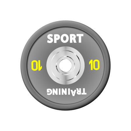 Dense grey weight plates numbered weights. 10. Illustration vector equipment for barbells. GYM, fitness center with provision simulators