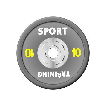 Placas de peso gris densas pesas numeradas. 10. Equipo de vector de ilustración para pesas. GYM, fitness center con simuladores de provisión