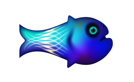 Blue little fish. Vector illustration of sea and animal symbol. Marine stock. Cartoon funny life optimized from to be used in banner design, this illustration of a happy cartoon character. Vector