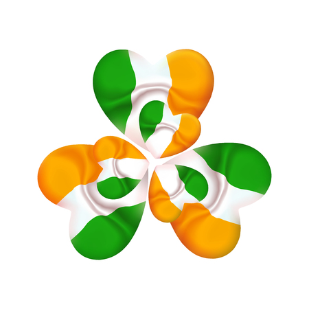 Ireland St. Patrick day icon, clover with Irish color flag in heart. Shamrock spring fresh leaves of clover to the event of the saint patron. Vector illustration, emblem eps10