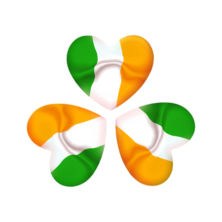 Ireland St. Patrick day icon, clover with Irish color flag in heart. Shamrock spring fresh leaves of clover to the event of the saint patron. Vector illustration, emblem Çizim