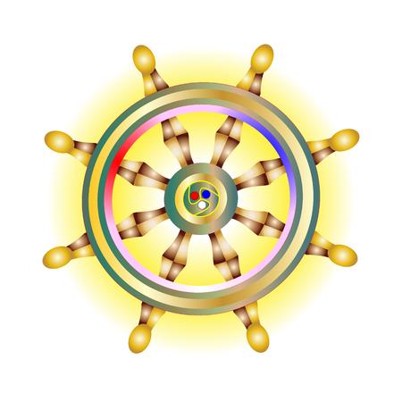Sacred symbol, Golden Dharma wheel icon. Holy Buddhism vector sign. Dharmachakra spiritual. Vector illustration innermost religions eps10