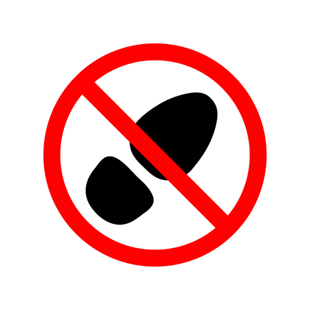 Sign, icon prohibiting walking in dirty street shoes. Red insignia with black sole or grange foot. Vector illustration eps10.