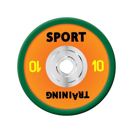 10 orangefarbene Hantelscheiben nummeriert. Illustrationsvektor für Hanteln. GYM, Fitness-Centermit. Vektorgrafik