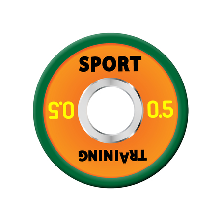 Dense orange weight plates numbered weights. 0,5. Illustration vector equipment for barbells. GYM, fitness center with provision simulators, eps10.