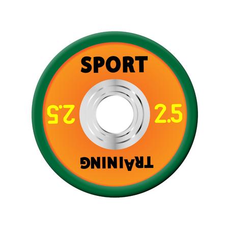 Dense orange weight plates numbered weights. 2,5. Illustration vector equipment for barbells. GYM, fitness center with provision simulators, eps10 Vektoros illusztráció