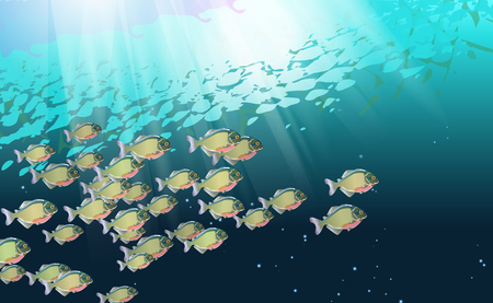Background, school of fish, in a river of piranhas. Aquatic life. Optimized from to be used in decoration, many Pacu, illustration vector. The symbol of the aggressive design for poster, banner. eps10