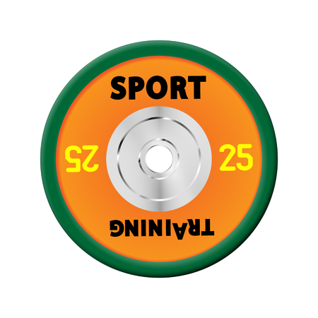 Orange Dense weight plates numbered weights. 25. Illustration vector equipment for barbells. GYM, fitness center with provision simulators. eps10 Banco de Imagens - 124933420