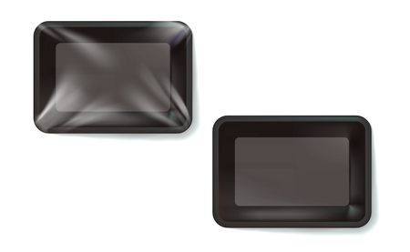 Mockup Black realistic plastic food container wrapped by polyethylene and without the wrapper. Vector Rectangle Blank Styrofoam tray, Template for your design. For example, packaged air. Illustration.