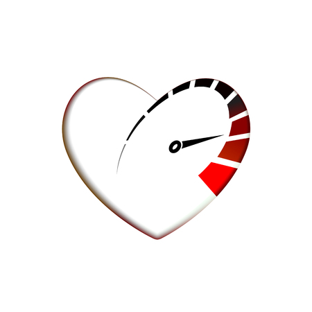 Speedometer in heart icon with arrow speed, RPM logo icon. Racing test symbol Vector Template love and Valentines day sign, emblem. Graphics internet illustration of internet for web design. EPS10
