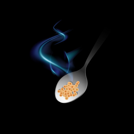 A spoon with steam emerges from the darkness and rushes to the mouth on a black background. Icon of hot food. Vector Isolated Illustration. eps10.