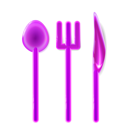 Toy Plastic Set realistic tablewares rounded, pink glossy. Isolated on light background. Fun element childish design. Baby food, entertainment. Cartoon vector illustration, with a shadow. EPS10.