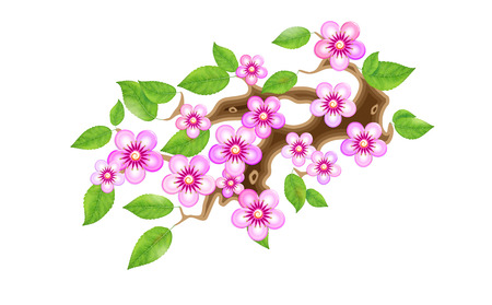 Sakura branch with flowers in anime style, cherry blossom, vector illustration. Partially animated stylistic solution in unorthodox East Asian decoration tradition. EPS 10.