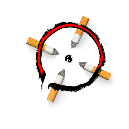 The aim is drawn with a cigarette butt. Stop smoking concept. Nicotine addiction. With drop shadows for any background. Symbol target icon, design element realistic vector illustration. EPS10.