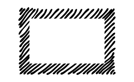 Scribble hatching along the rim frame rectangle. Hand drawn symbols. Sketches shaded and hatched badges and stroke shapes. Monochrome vector design elements. Isolated illustration. EPS 10.