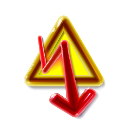 Realistic 3d plastic yellow High Voltage sign. Toy modern glossy danger symbol in light backdrop. Red arrow isolated in triangle. Warning icon. Luxury for your design with shadow vector illustration.  イラスト・ベクター素材
