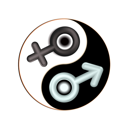 Yin and Yang male, female gender 3d symbol. Isolated mandala. Design spiritual adults relaxation. Black, white icon illustration. Sign vector sexual heterosexual affiliation. Strong family, love. Çizim