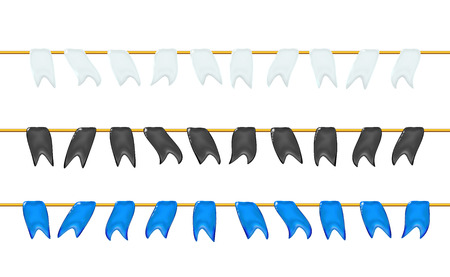 Set, garlands 3d glossy little flags or pennants by a rope, hanging for holiday, realistic plastic toy for children. Design shiny icon vector illustration isolated on light. Childish colorful fun.