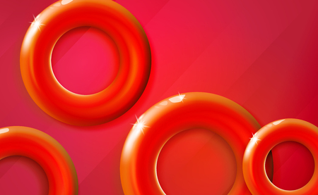 Red rings background glossy start-up presentation, design shiny scarlet 3d realistic vibrant color tones circles. Abstract vector glittering cover illustration. Backdrop, banner. EPS10. Illustration