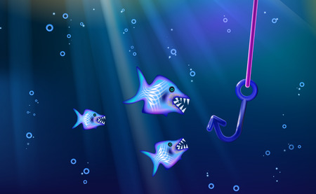 Fishing and wild predators blue background small flock fish. Cartoon marine life from banner design, this illustration of a happy cartoon characters. Angling piranha or shark illustration vector.