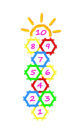 Hopscotch game brushes strokes with illustration by child. Children street game. Hexagonal honeycomb Vector EPS 10.