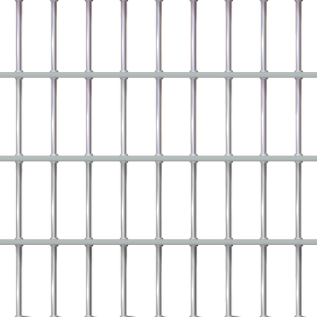 Realistic background prison iron interior. Jail cells modern with bars. Banner vector detailed illustration metal lattice. Detention centre cell metallic. Isolated way, freedom concept grid. Eps 10.