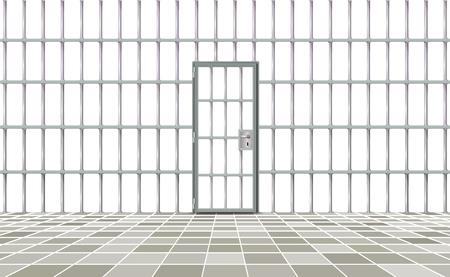 Realistic background prison iron interior. Gray door jail cells bars modern. Banner vector detailed illustration metal lattice. Detention centre metallic. Isolated way, freedom concept grid, jail. Illustration