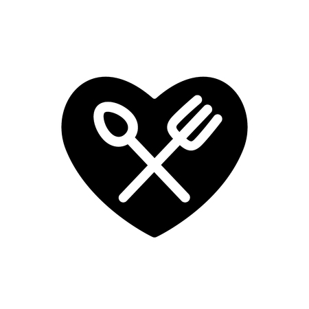 Fork and spoon white simple silhouettes in heart black shape icon. Cutlery in your kitchen design vector illustration. EPS 10. Love cooking.
