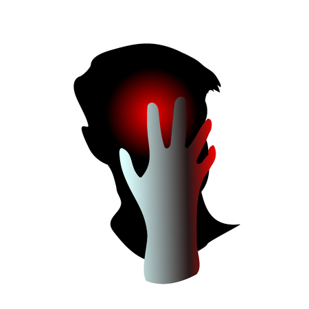 Man having headache, migraine, pain, pressing hand to head. Concept health problems, tired, suffer, frustrated. Hurts and It may be because of regret or anxiety and stress. Vector illustration EpS10.