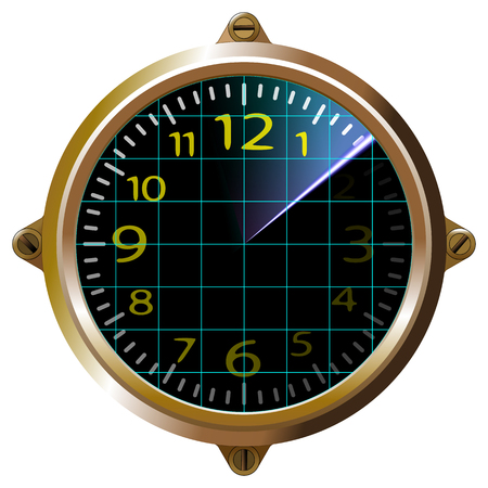 Futuristic clock yellow apparatus radar. Gauge dashboard touch user interface. Screen device and appliance, unit, isolated. Vector illustration Eps 10.