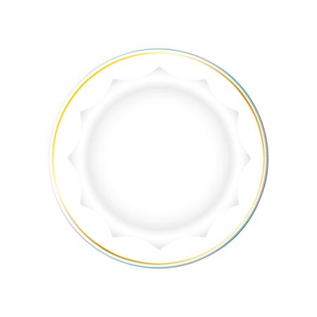 Plato blanco con borde dorado y fondo poligonal, vector aislado sobre fondo claro. Platos de cocina para alimentos, elemento de Ilustración para su producto, anuncios de alimentos, diseño de vajillas. Eps10.