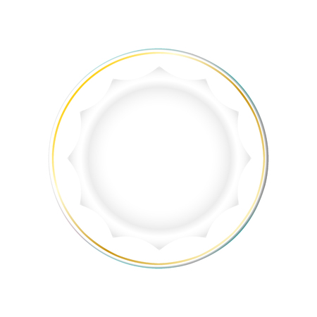 White Plate with gold border and a polygonal bottom, isolated vector on a light background. Kitchen dishes for food, Illustration element for your product, food ads, tableware design. Eps10.